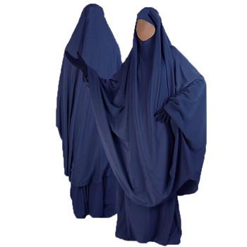 Jilbab Bleu Foncé - 2P Cape+Jupe - N21 - Jilbeb Al Manassik