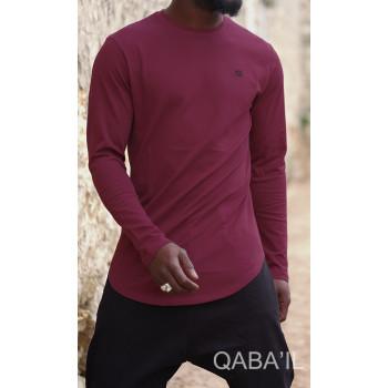 Sweat-Shirt Léger Bordeaux Manches Longues Qaba il