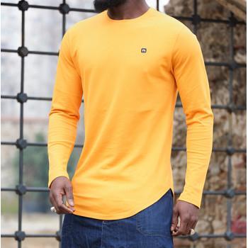 Sweat-Shirt Léger Jaune Moutarde Manches Longues Qaba il