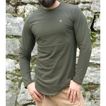 Sweat-Shirt Léger Kaki Manches Longues Qaba il
