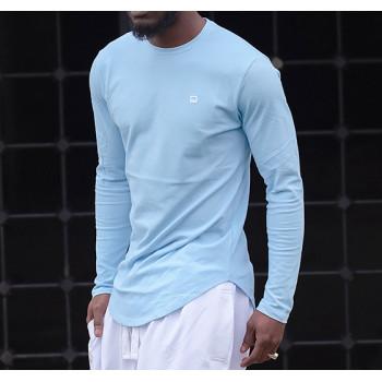 Sweat-Shirt Léger Bleu Ciel Manches Longues Qaba il