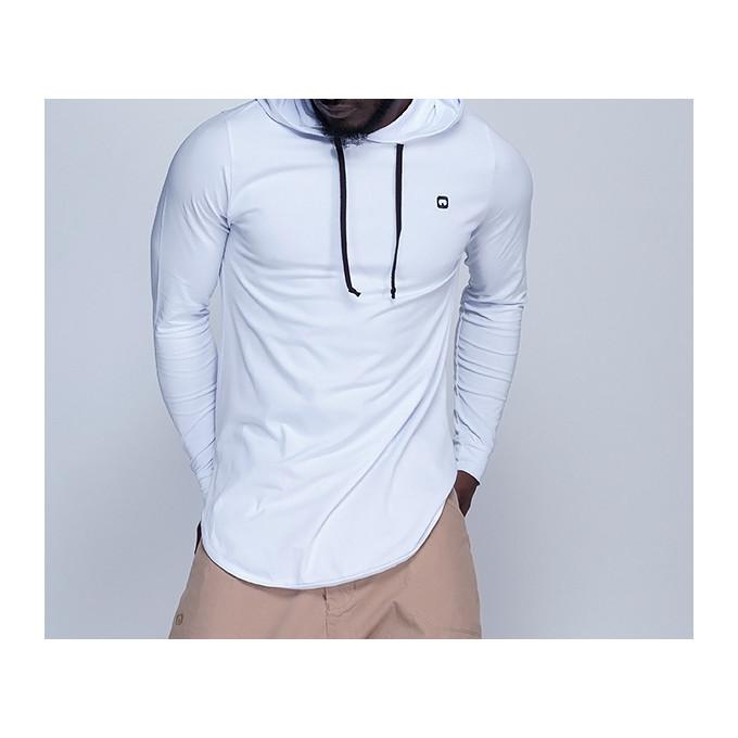 Sweat-Shirt Capuche Léger Blanc Manches Longues Qaba il