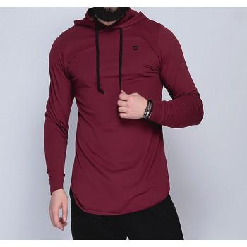 Sweat-Shirt Capuche Léger Bordeaux Manches Longues Qaba il