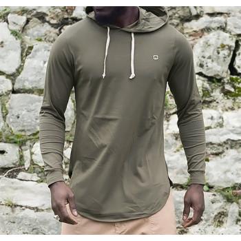 Sweat-Shirt Capuche Léger Kaki Manches Longues Qaba il