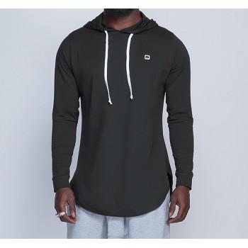 Sweat-Shirt Capuche Léger Noir Manches Longues Qaba il