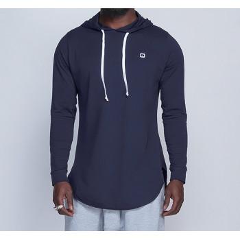 Sweat-Shirt Capuche Léger Bleu Nuit Manches Longues Qaba il