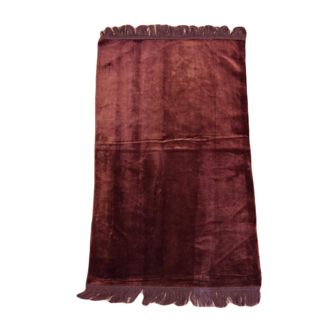 Tapis De Prière Adulte - Couleur Marron Unie Sans Motifs - 67 x 118 cm