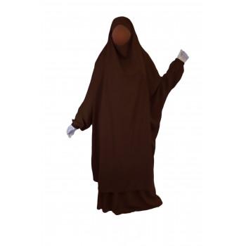 Jilbab 2P Jupe - Marron Foncé 2 - Wool Peach - Jilbeb El Bassira - 6650-B