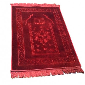 Grand Tapis de Prière - Bordeau - Motif Mekka - Molletonné, Épais et Trés Doux - Confortable et Anti-Dérapant