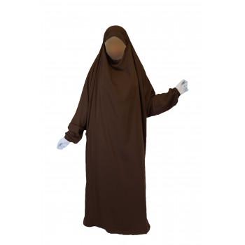 Jilbab 1P - Marron Foncé 2 - Wool Peach - Jilbeb El Bassira - 6619-B