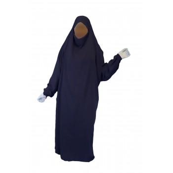 Jilbab 1P - Bleu Foncé 29 - Wool Peach - Jilbeb El Bassira - 4993-B