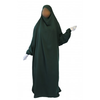 Jilbab 1P - Vert Sapin 57 - Wool Peach - Jilbeb El Bassira - 6616-B