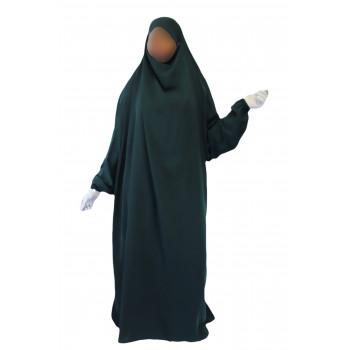 Jilbab 1P - Vert Canard Foncé 30 - Wool Peach - Jilbeb El Bassira - 5456-B
