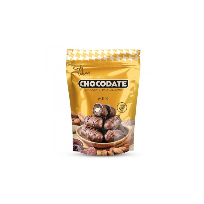 Datte Enrobé de Chocolat avec une Amande - Chocolat au Lait - Chocodate - 100gr