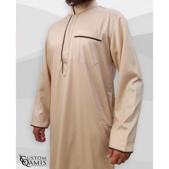 Qamis Edge - Precious Beige Satin et Marron - Custom Qamis