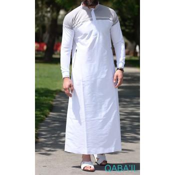 Qamis blanc et gris clair Qaba'il : Classic II