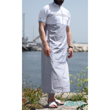 Qamis Navy II - Gris Clair et Blanc - Manche Courte - Qaba'il