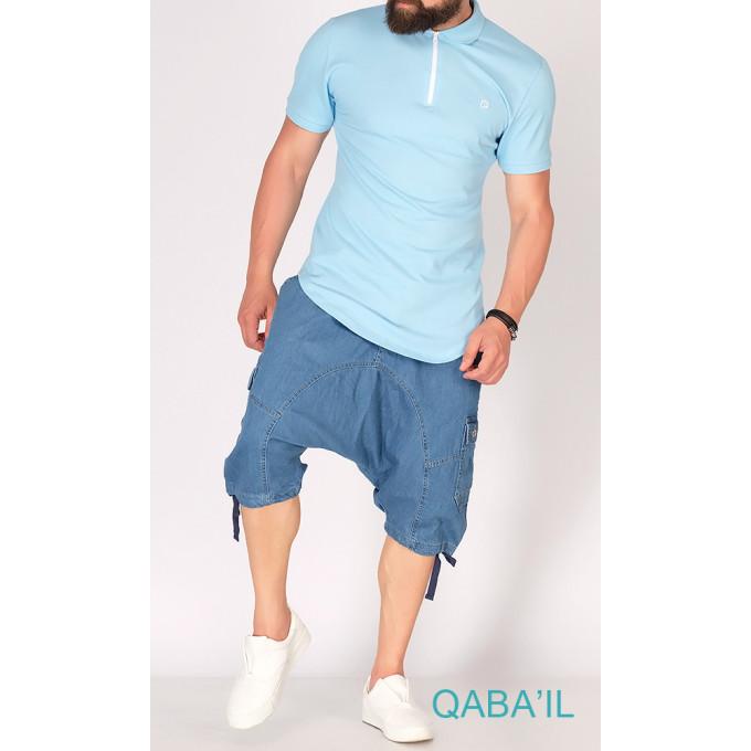 Sarouel Short Jeans - Bleu Délavé - Qaba il - 2813