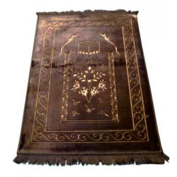 Grand Tapis de Prière - Marron - Motif Mekka - Molletonné, Épais et Trés Doux - Confortable et Anti-Dérapant
