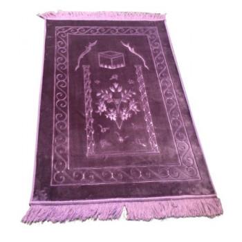 Grand Tapis de Prière - Lila - Motif Mekka - Molletonné, Épais et Trés Doux - Confortable et Anti-Dérapant
