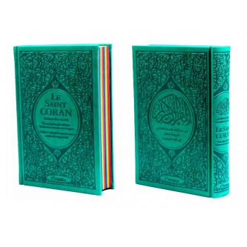 Le Saint Coran Arc en Ciel - Arabe / Français / Phonétique - Edition De Luxe - Couverture En Daim Couleur Vert Bleu