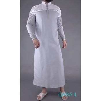 Qamis gris et blanc Qaba'il : Classic II