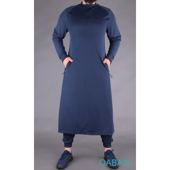 Qamis Long Longline - Bleu Nuit - Qaba'il