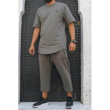 Ensemble Hybrid 100% Coton - Kaki Gris - T-Shirt Oversize - Saroual Djazairi - Na3im