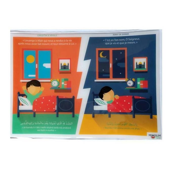 Autocollant ou Sticker - Avant de Dormir et Au Réveille - A5 : 14 x 20 cm - Mooslim Toys