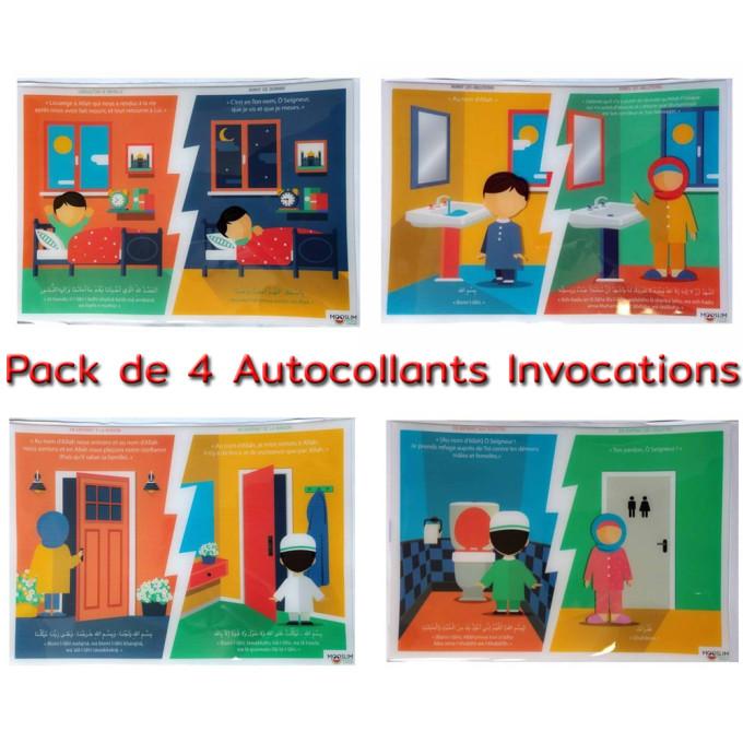 Autocollant ou Sticker - Packs des 4 autocollants - A5 : 14 x 20 cm - Mooslim Toys