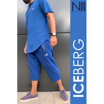 Ensemble Iceberg Coton Piqué 100% Coton - Indigo - T-Shirt Oversize et Saroual Djazairi - Na3im