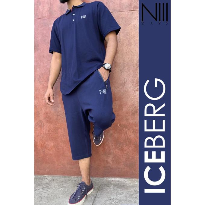 Ensemble Iceberg Coton Piqué 100% Coton - Bleu Nuit - T-Shirt Oversize et Saroual Djazairi - Na3im