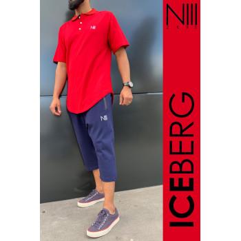 Ensemble Iceberg Coton Piqué 100% Coton - Polo Rouge et Saroual Bleu Nuit - T-Shirt Oversize et Saroual Djazairi - Na3im