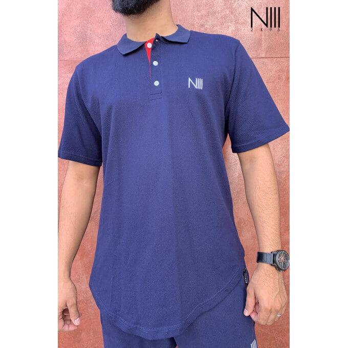 POLO Iceberg Coton Piqué 100% Coton Bleu Nuit T Shirt Oversize Na3im