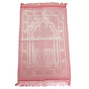 Grand Tapis de Prière - Rose Pâle - Motif Mirhab - Molletonné, Épais et Trés Doux - Confortable et Anti-Dérapant