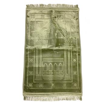 Grand Tapis de Prière - Vert Pistache - Motif Mirhab - Molletonné, Épais et Très Doux - Confortable et Anti-Dérapant