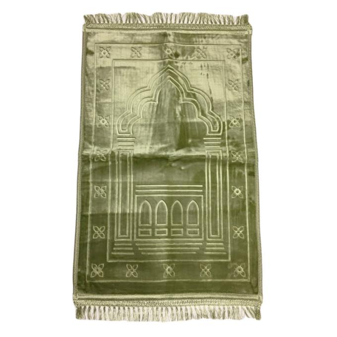 Grand Tapis de Prière - Vert Pistache - Motif Mirhab - Molletonné, Épais et Trés Doux - Confortable et Anti-Dérapant