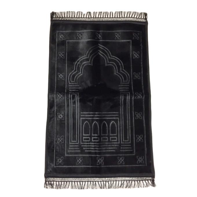 Grand Tapis de Prière - Noir - Motif Mirhab - Molletonné, Épais et Trés Doux - Confortable et Anti-Dérapant