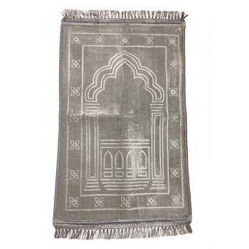 Grand Tapis de Prière - Gris - Motif Mirhab - Molletonné, Épais et Très Doux - Confortable et Anti-Dérapant
