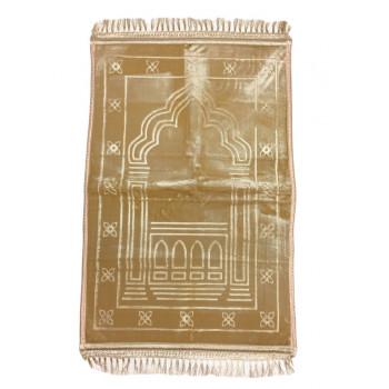 Grand Tapis de Prière - Beige - Motif Mirhab - Molletonné, Épais et Très Doux - Confortable et Anti-Dérapant