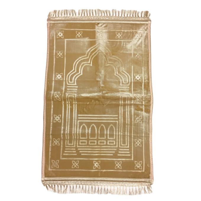 Grand Tapis de Prière - Beige - Motif Mirhab - Molletonné, Épais et Trés Doux - Confortable et Anti-Dérapant