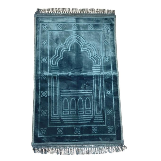 Grand Tapis de Prière - Bleu Pétrole - Motif Mirhab - Molletonné, Épais et Trés Doux - Confortable et Anti-Dérapant