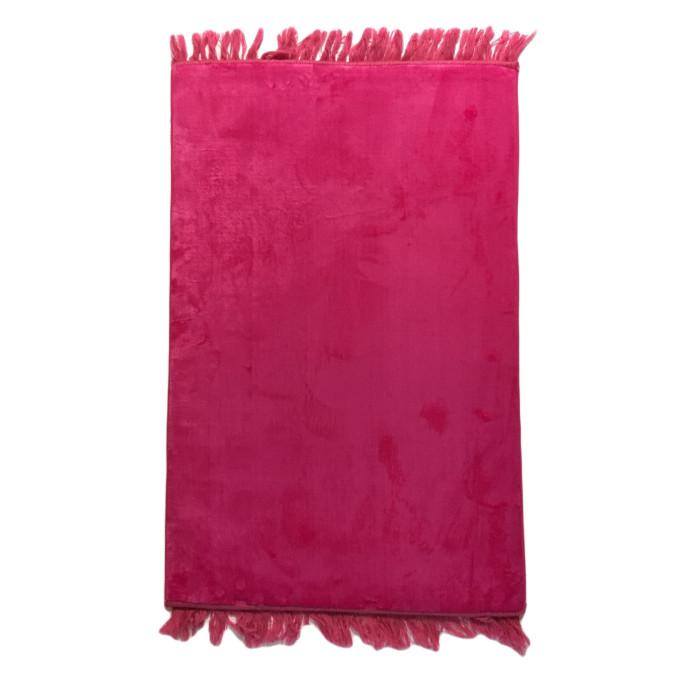 Grand Tapis de Prière - Rose Bonbon - Sans Motif - Molletonné, Épais et Trés Doux - Confortable et Anti-Dérapant