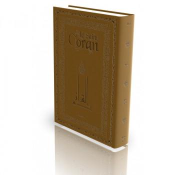 Le Coran - Arabe et Français - Couverture Rigide Marron - Haute Gamme avec Bord Dorée - Simili-Daim - Edition Sana