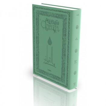 Le Coran - Arabe et Français - Couverture Rigide Vert Clair - Haute Gamme avec Bord Dorée - Simili-Daim - Edition Sana