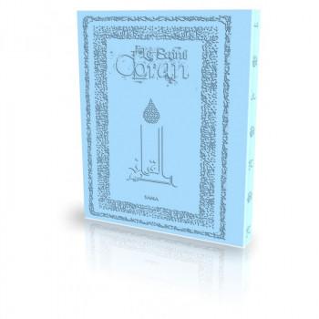 Le Coran - Arabe et Français - Couverture Daim Souple Bleu Clair - Edition Sana