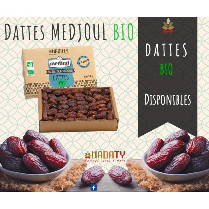 Dattes Medjoul BIO - 3 kg - 100% Naturel - Madina Al Monowara - Arabie Saoudite - Nadaty