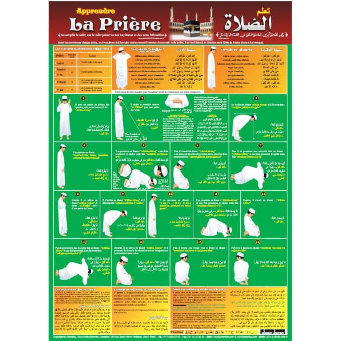 Poster : Apprendre la Prière - Arabe - Français - Phonétique