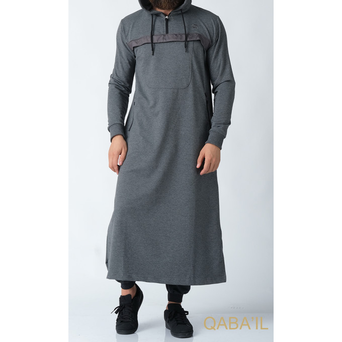 Qamis Long Anthracite Qaba'il : Furtif