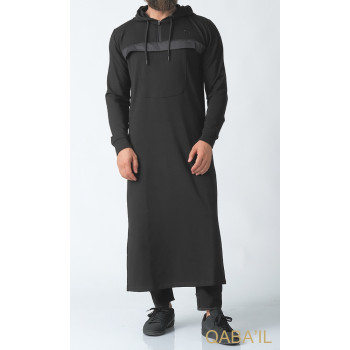 Qamis Long Noir Qaba'il : Furtif